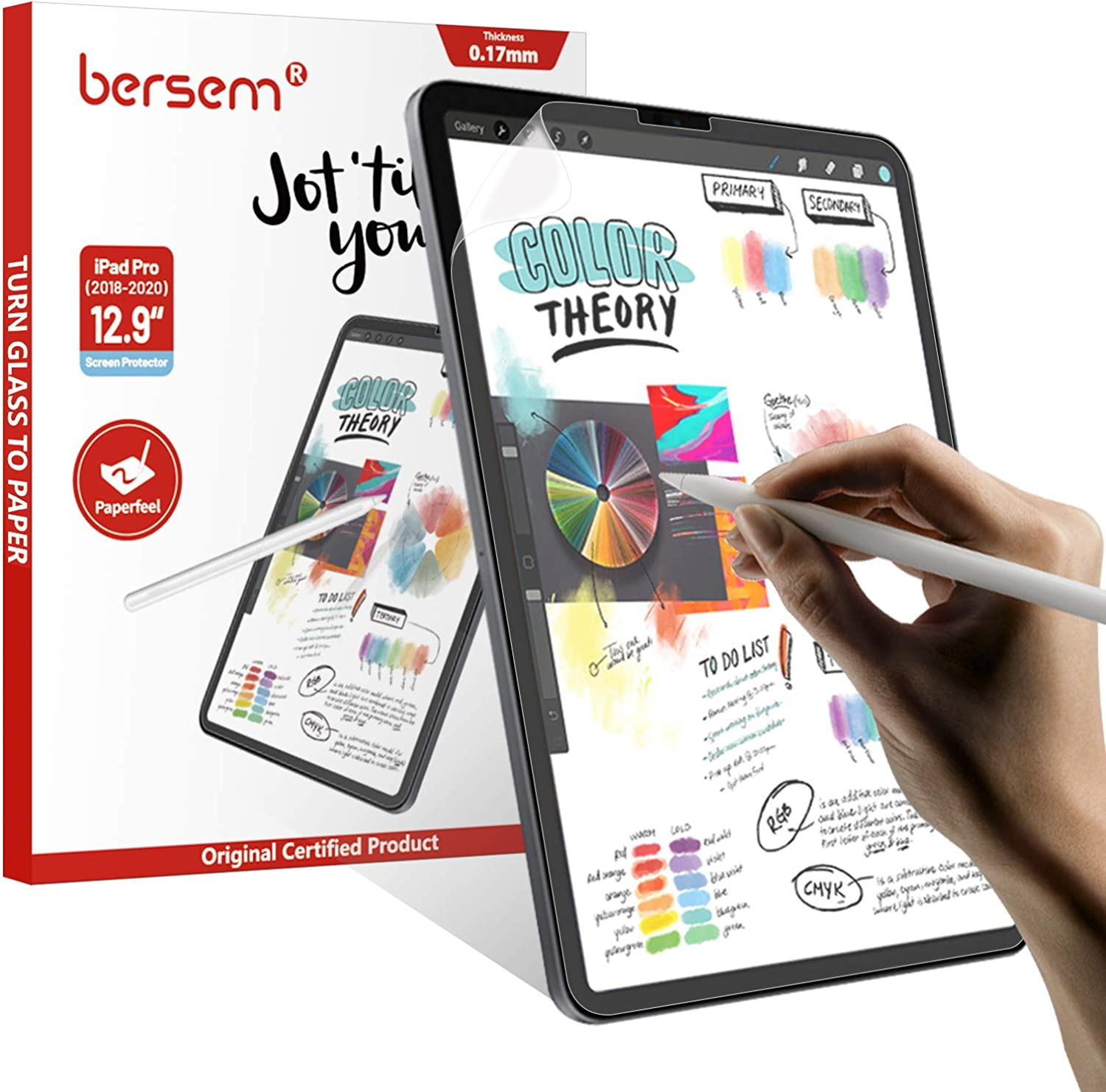 BERSEM [3 Pack] Paperfeel Screen Protector Compatible with iPad Pro 12.9-Inch (2021&2020 and 2018 Model), iPad Pro 12.9 2021 5th Generation Matte PET Film for Drawing Anti-Glare,Face ID Compatible, Paperfeel Film
