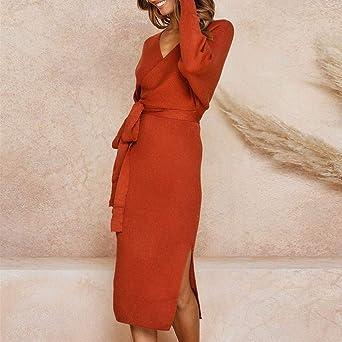 Shenye elegancka damska sukienka wieczorowa z dekoltem w kształcie litery V, z paskiem, biznesowa, w stylu vintage: Odzież