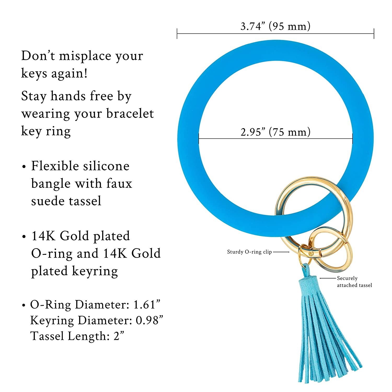 And Lovely Silicone Bangle Bracelet with Imitation Suede Tassle Bangle Keyring Keychain
