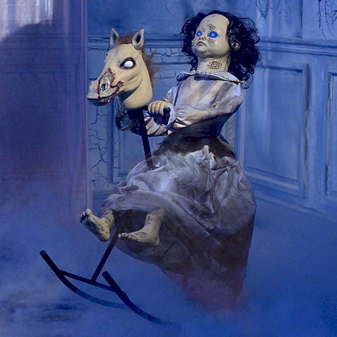 Animated Rocking Horse Girl Halloween Prop