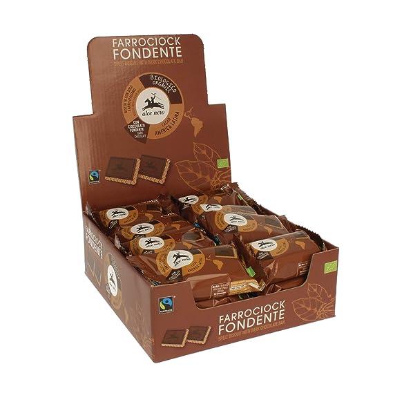 Galletas de espelta cubiertas de chocolate oscuro monodosis - Alce Nero - caja de 24 uds