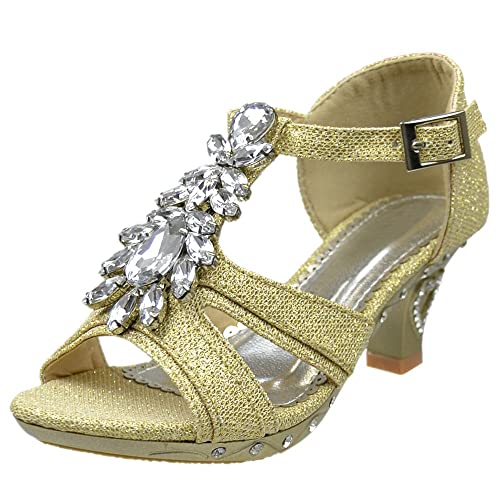 f5c3a9d8e58 Girls T-Strap Rhinestone Jewel Glitter Pageant Dress High Heel Sandals Black