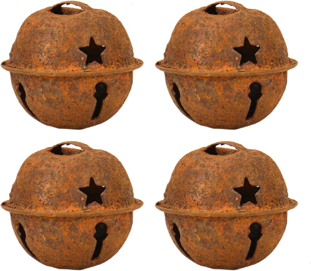 """Lot of 6 Rusty Jingle Bells LARGE 3.15/"""" Primitive Rustic Country crafting"""