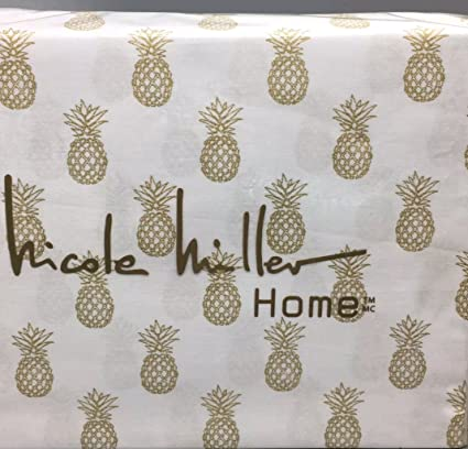 Nicole Miller Queen Pineapple Sheet Set Metallic Gold On White Tropical  Beach Life Cotton 4 Pc