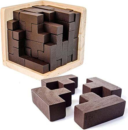 Amazon Com Wooden Brain Teaser Puzzle Cube Wooden Puzzles T Shaped Jigsaw Logic Puzzle Educational Toy For Kids And Adults By Ahyuan Toys Games