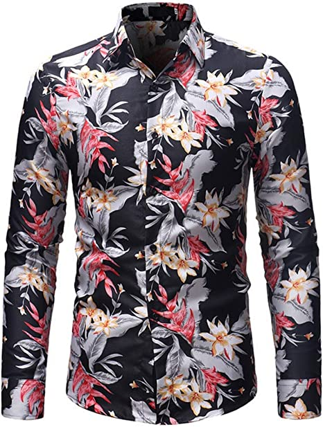 SFHK Hombre Manga Larga Camisa Slim-fit Flor Imprimiendo Camisetas,XL: Amazon.es: Deportes y aire libre