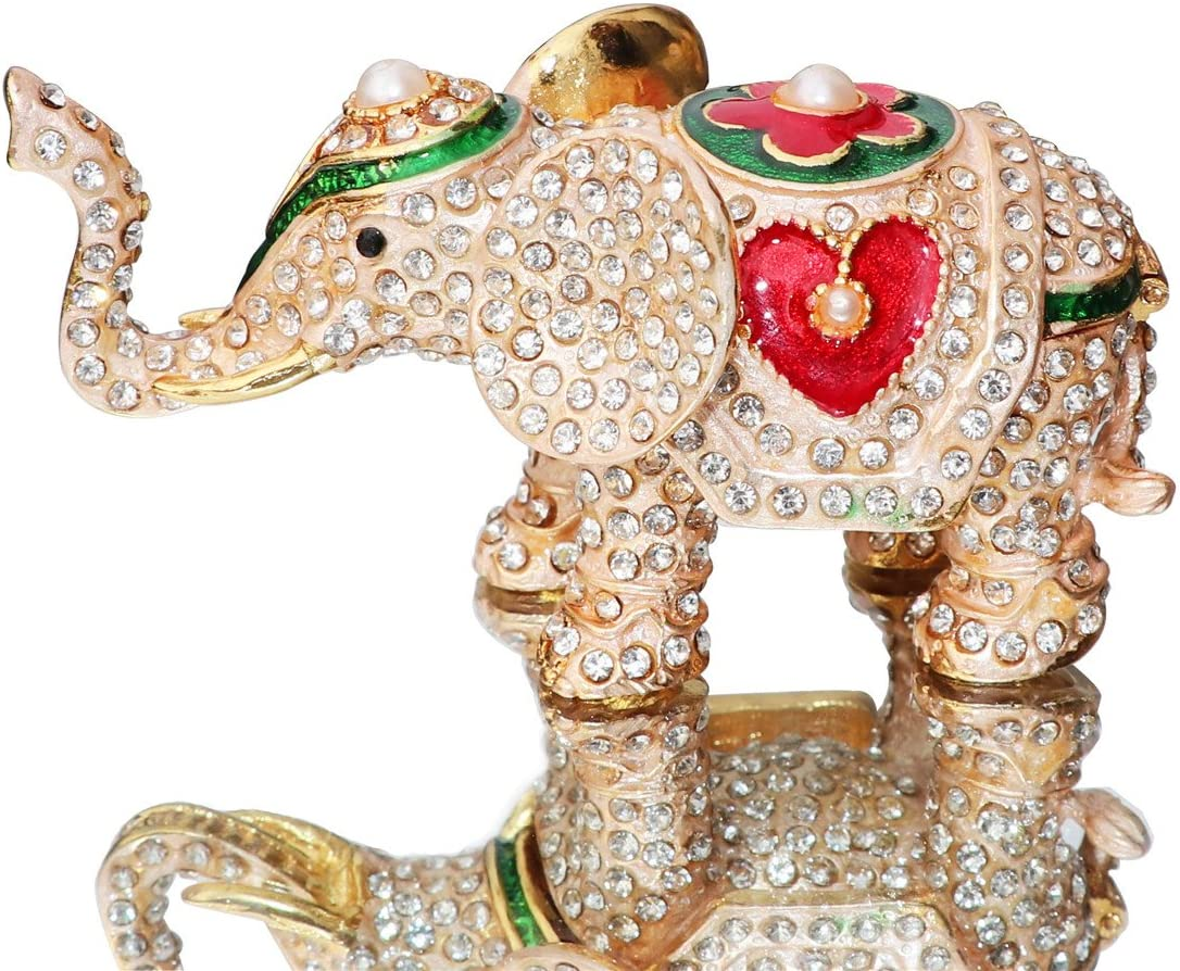 Waltz&F Hand Painted Enameled Red love heart elephant Decorative Hinged Jewelry Animal Trinket Box Unique Home Decor