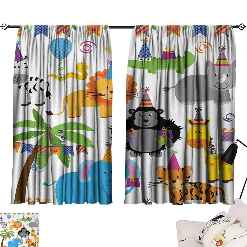 Kids Birthday Drapes/Draperies Jungle Wild Safari Animals in Cartoon Pattern with Party Hats Flags Image Family Darkening Curtains Multicolor W55 x L39