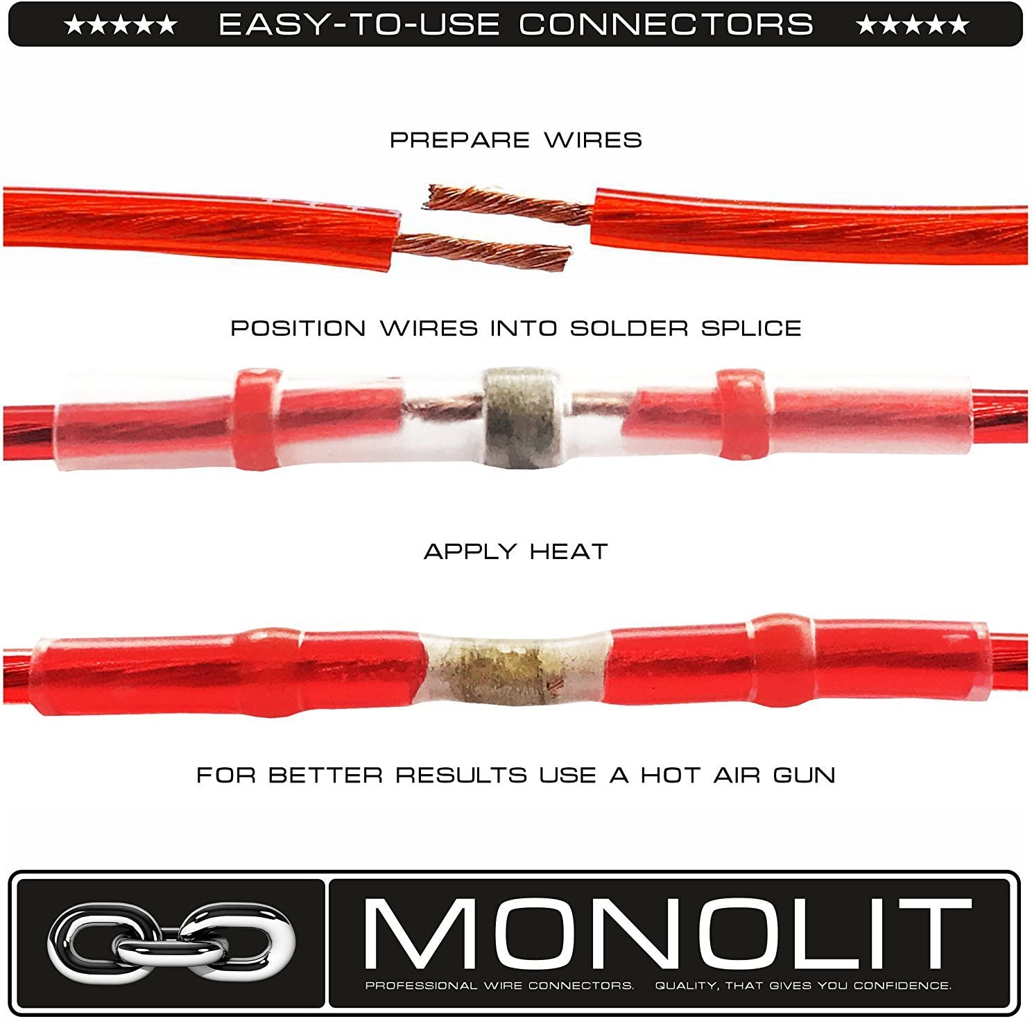 Heat Shrink Connectors Sleeve Splice Wire Waterproof Insulated Tube Red