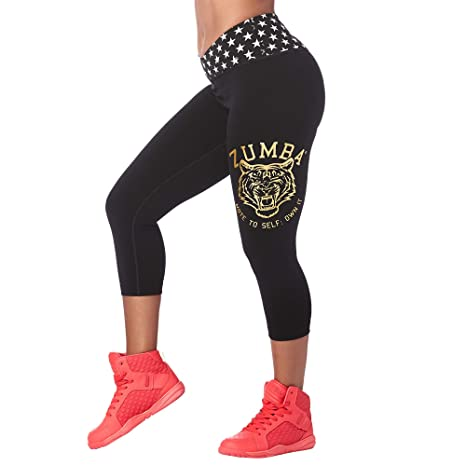 5f8bd3466603f2 Zumba Wide Waistband Dance Fitness Compression Fit Print Capri Workout  Leggings for Women, Basic Black