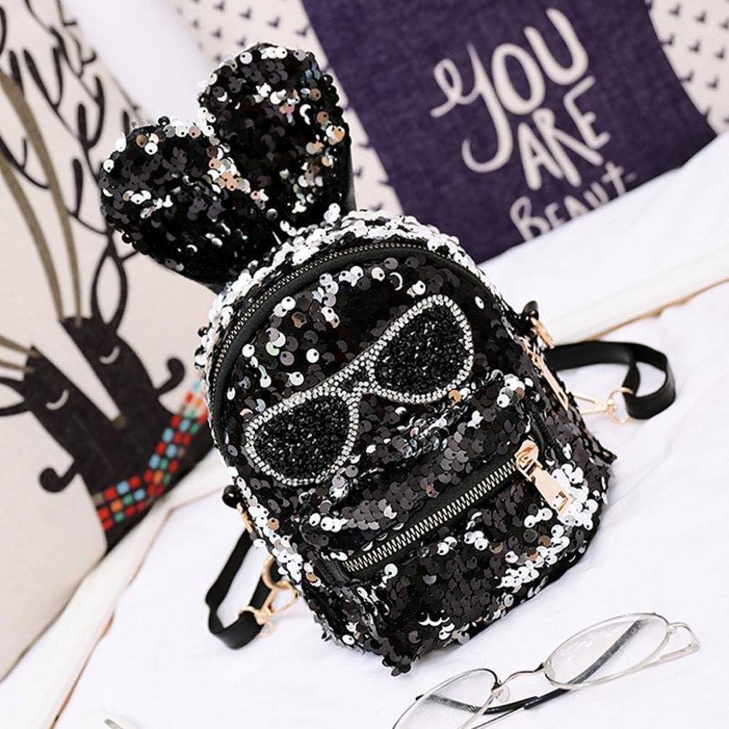Amiley Student Fashion Ear Sequin School Bag School Backpack Student School Bag