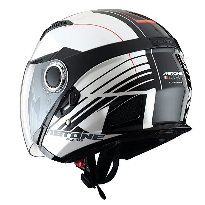 Astone Helmets fibra, Casco Jet, Espada, color Espada Blanco Negro, talla XS: Amazon.es: Coche y moto
