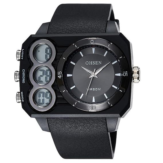 OHSEN Reloj De Deportivo De Moda Impermeable De Hombre Mujer Con Doble LED Multifunción Cronómetro Analógico