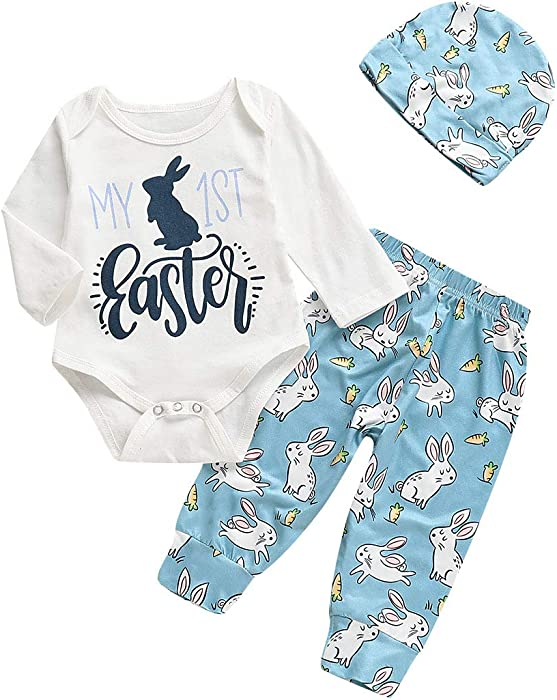 296f20f4f Amazon.com: 3Pcs/Set Newborn Infant Baby Girl Boy My 1st Easter Bodysuit  Romper+Bunny Pants+Hat Easter Outfit (White+Blue, 0-6 Months): Clothing