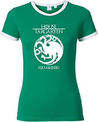 EZYshirt®| Game of thrones | House Targaryen | GOT | Damen Rundhals Ringer T