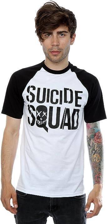 Suicide Squad hombre Black On Black Logo Camiseta del béisbol: Amazon.es: Ropa y accesorios