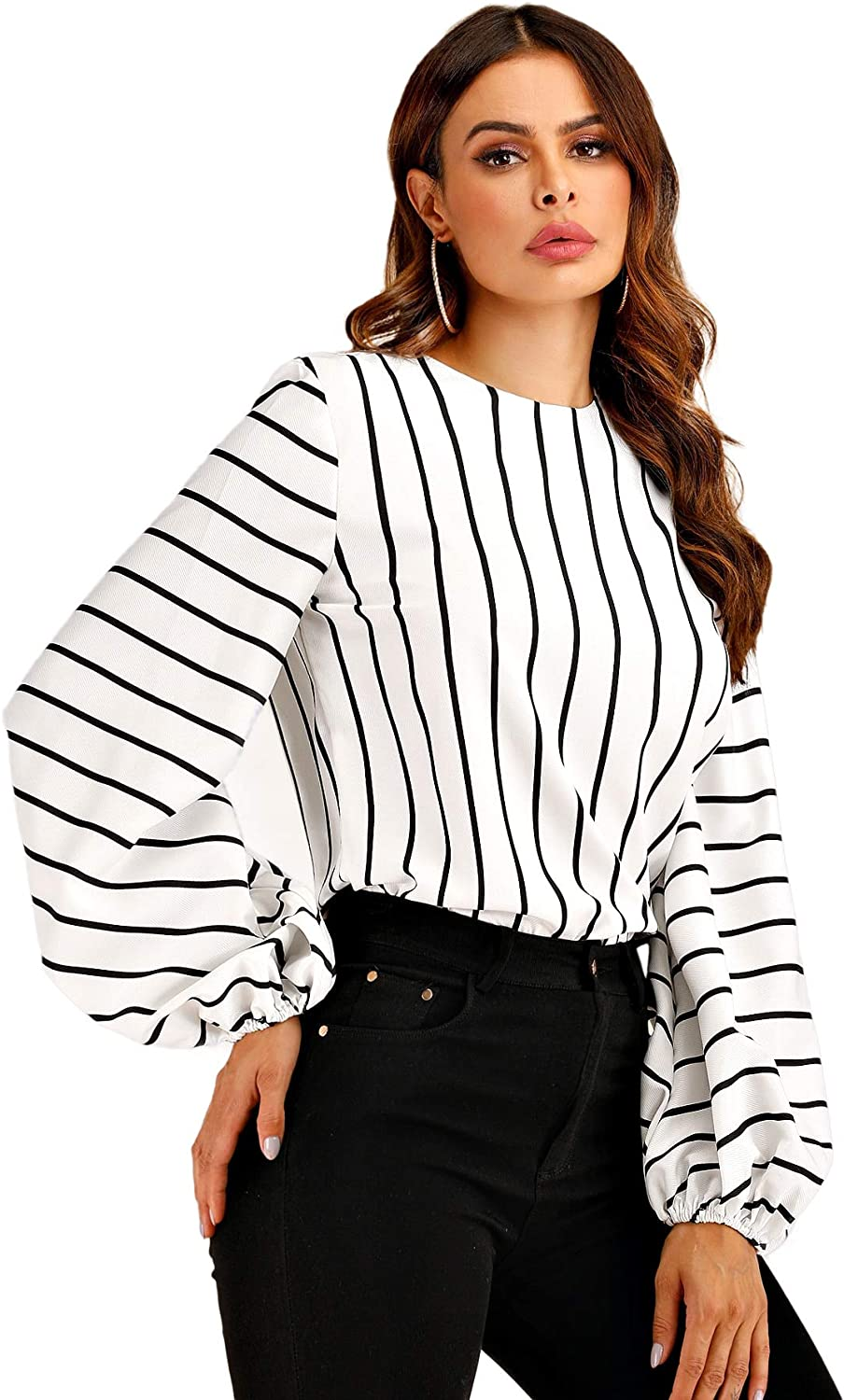 New Womens Bishop Sleeve Floral Embroidered Stripe Shirt Button Front Blouse Top
