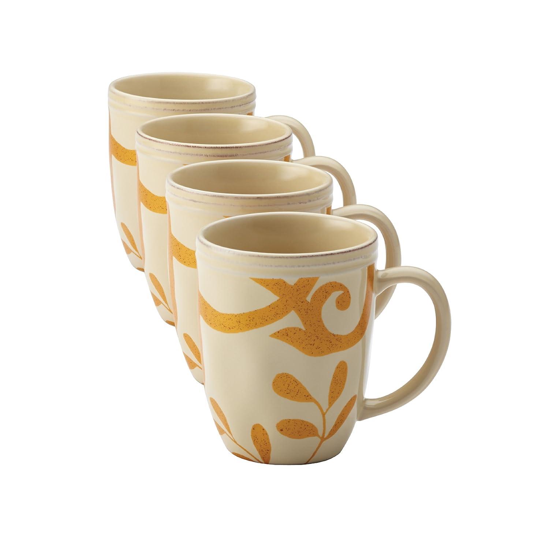 Amazon.com | Rachael Ray Dinnerware Gold Scroll 4-Piece Mug Set ...
