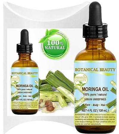 MORINGA OIL – Moringa oleifera WILD GROWTH Himalayan. 100 Pure Natural Undiluted Virgin Unrefined. 4 Fl.oz.- 120 ml. For Skin, Hair, Lip and Nail Care.