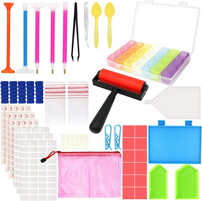 Diamond Art Roller and Repair Tool Outuxed 122pcs Diamond Painting Tools Kit Diamond Painting Accessories Storage Box with Tools Included 86 Bottles