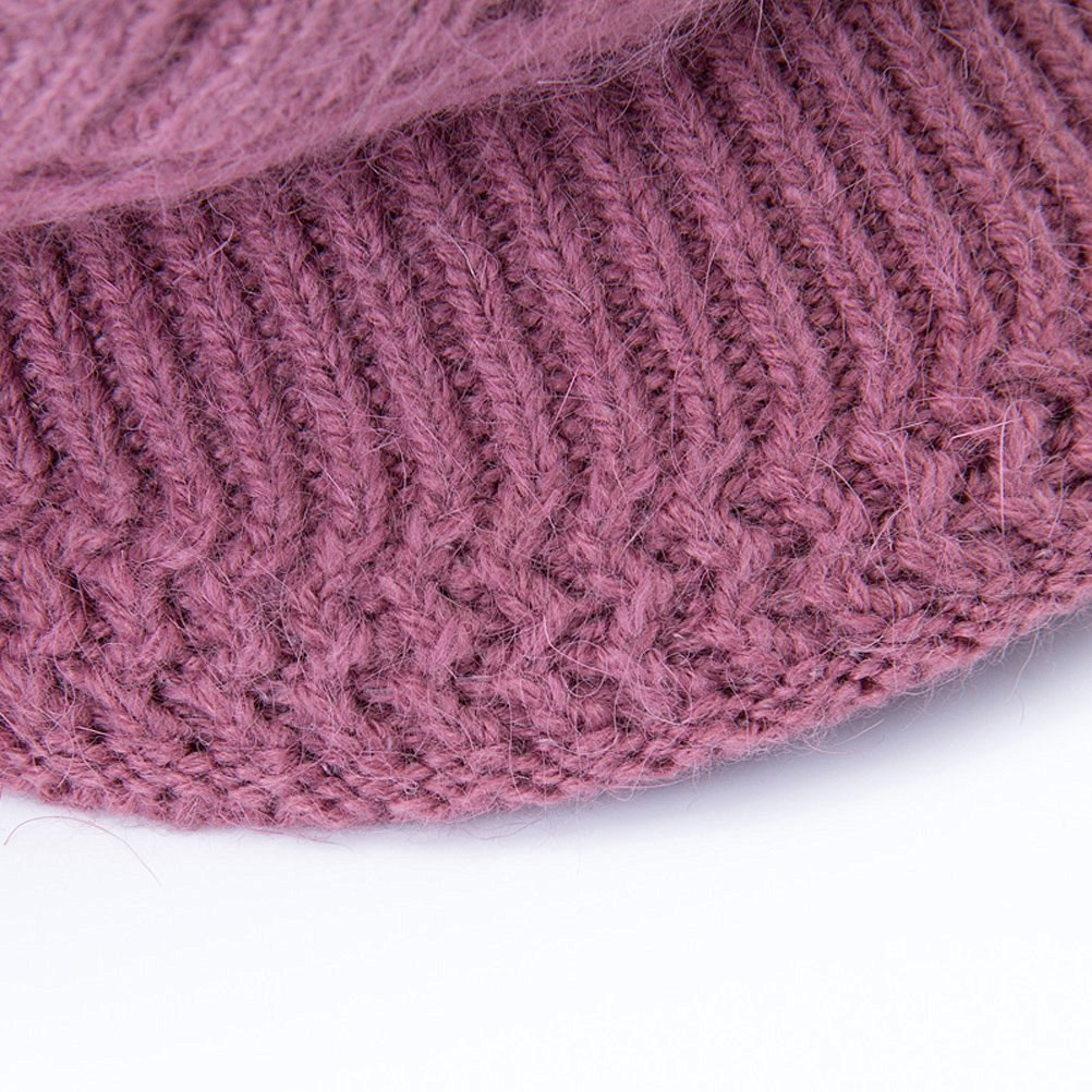 Haircloud Women Lady Slouchy Wool Snow Ski Skull Caps Winter Warm Knit Hat with Visor