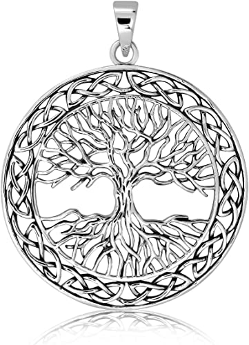 Tree-of-Life Charm Circle Pendant /& Chain Necklace in Solid .925 Sterling Silver