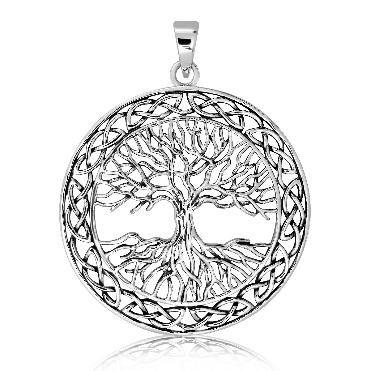 WithLoveSilver Solid 925 Sterling Silver Celtic Knots Tree of Life Earth Root Pendant Grand247