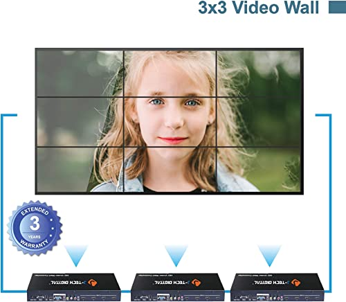 J-Tech Digital Video Wall Controller 3X3 2X2 1X4 3X1. Multi-Channel inputs HDMI VGA AV USB for LCD LED Video Wall Display with Cascading Function Control4 Driver Avaliable JTECH-VW02