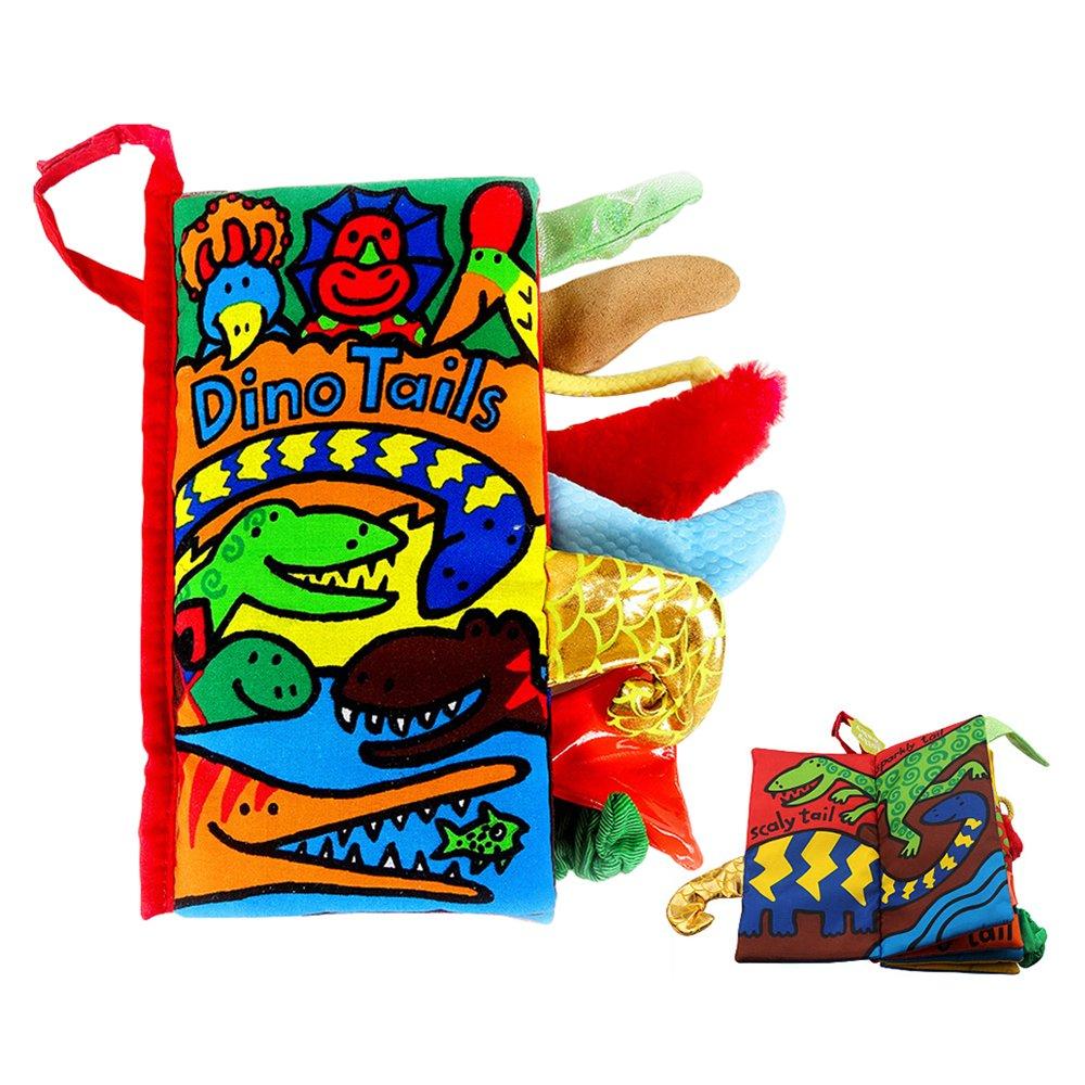SUPOW柔らかい布Books – Funny Animal Tails布ブック赤ちゃんおもちゃ布開発Books 3 ~ 24ヶ月の赤ちゃん SUPOW  Dino Tails B078K5HM2Z