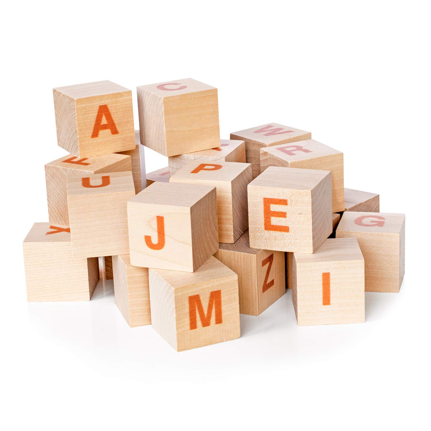 Perfect for Any Toddler Great for Early Brain Development Constructed Out of Organic Hardwood Stacking Blocks XL Size Modern Helvetica Print Baby Alphabet Letters