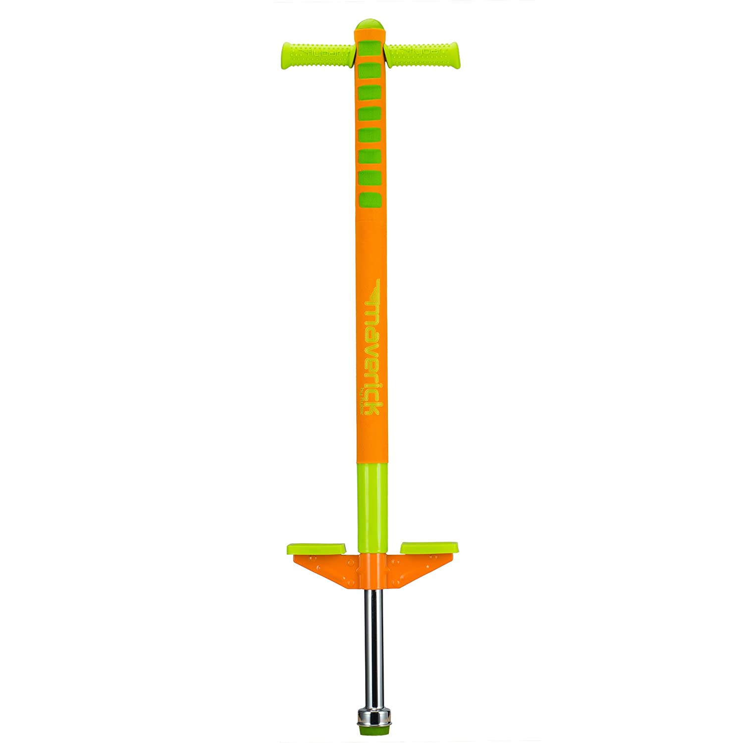 Flybar Limited Edition Foam Maverick Pogo Stick for Boys Girls Ages 5 9 Orange Lime Comes With New 'Rubber' Grip Handles.