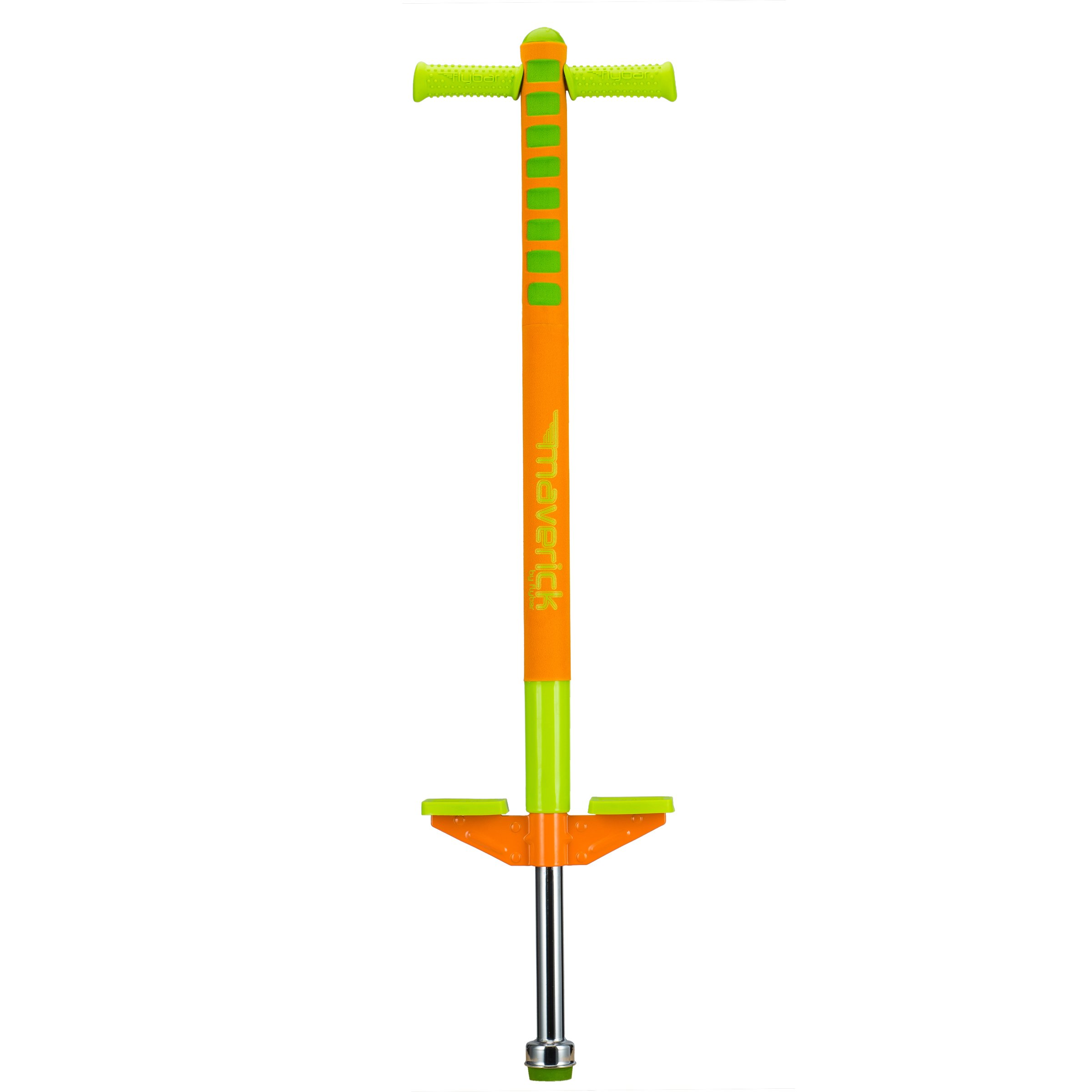 Flybar Limited Edition Foam Maverick Pogo Stick for Boys & Girls, Ages 5-9 (Orange/Lime) Comes With New 'Rubber' Grip Handles. by Flybar