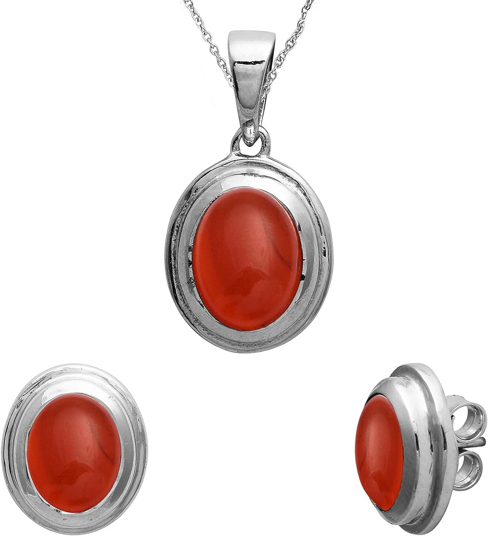 Shine Jewel Conjunto de Colgante de Bisel con Piedras Preciosas de cornalina roja Oval 925 Joyas de Plata esterlina
