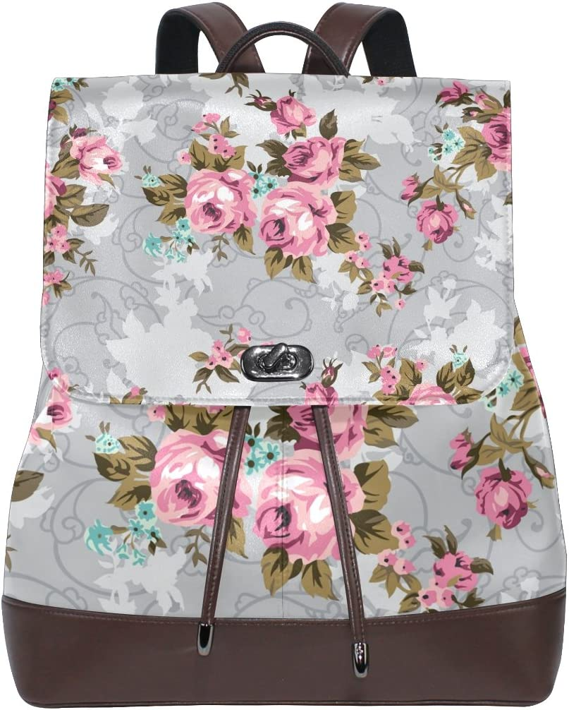 KUWT Pink Vintage Flowers PU Leather Backpack Photo Custom Shoulder Bag School College Book Bag Rucksack Casual Daypacks for Women and Girl