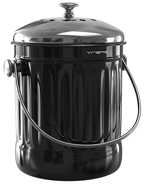 Vremi Kitchen Compost Bin for Counter or Under Sink - 1.2 Gallon Small  Metal Indoor Home Apartment Eco Compost Pail for Biodegradable Organic Food  ...
