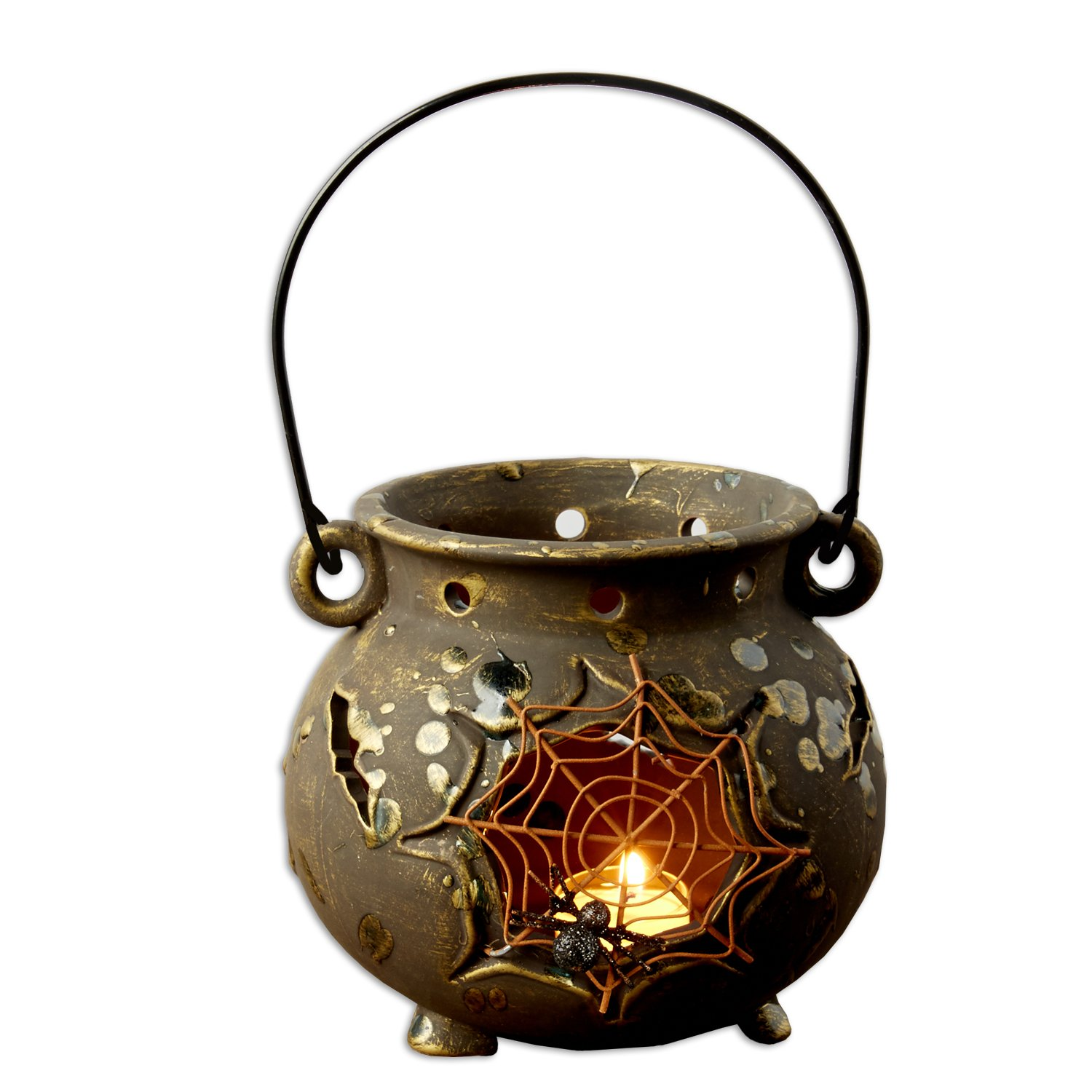 Halloween and Fall Spider Web Cauldron Indoor or Outdoor Decorative Tealight Ceramic Lantern Party Decoration