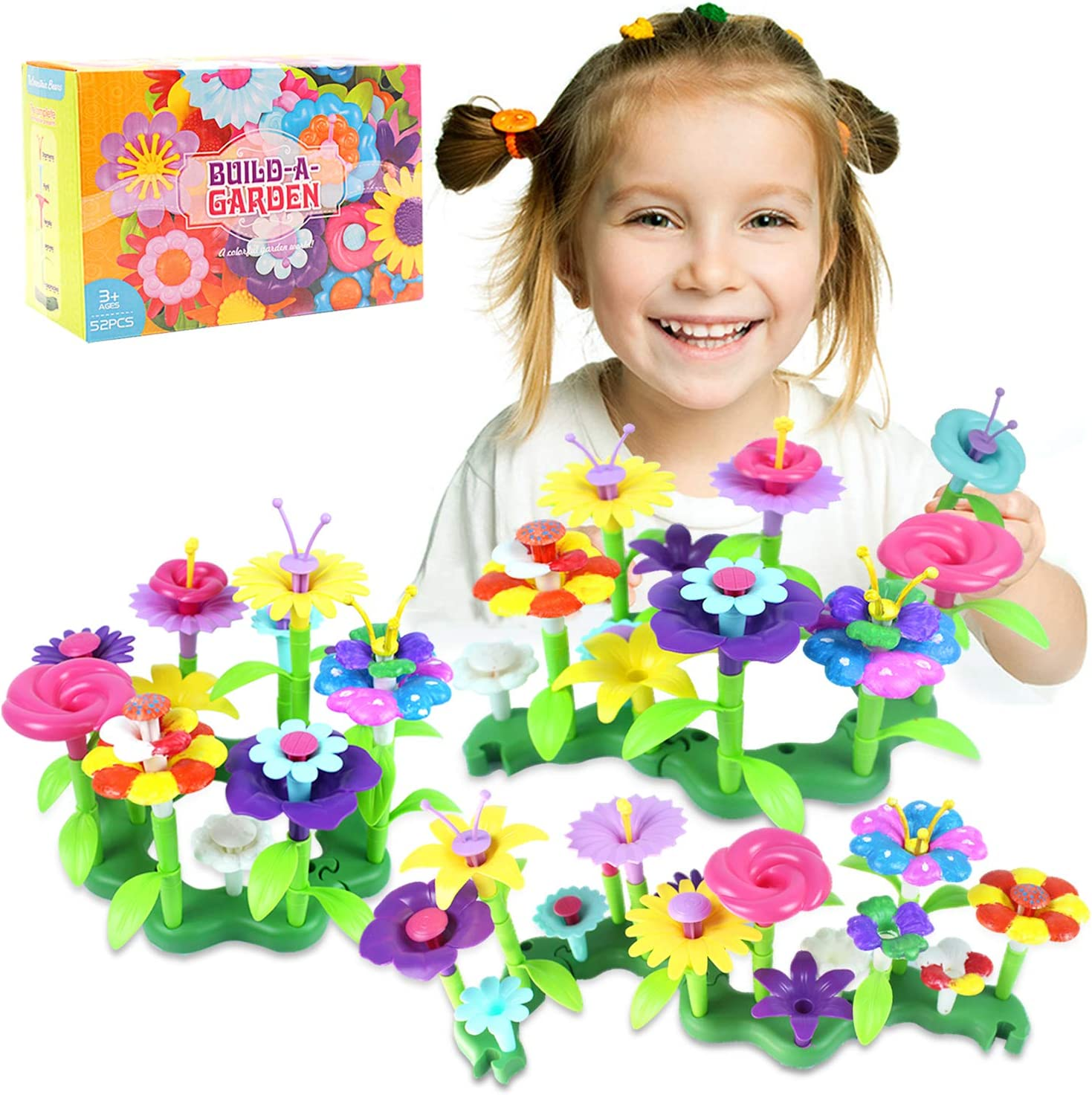 Byserten Flower Garden Building Toys, Pretend Gardening STEM Toy Painting Kit Crafts for Kids Outdoor Toddler Playset Birthday Gifts for 3 4 5 6 Year Old Girls