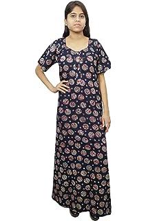 Indiatrendzs Womens Night Wear Nighty Long Printed Cotton Maxi Nightgown  Dark Blue 527f82e93