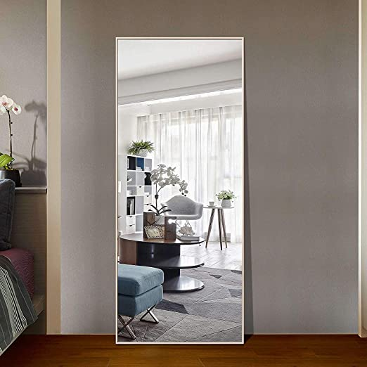 Beauty4U Full Length Mirror Floor Mirror Dressing Mirror Hanging Standing or Leaning 65 x 23.6 White Bedroom Mirror with PS Frame