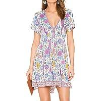 R.Vivimos Women's Short Sleeve Floral Print V-Neck Cotton Short Dresses