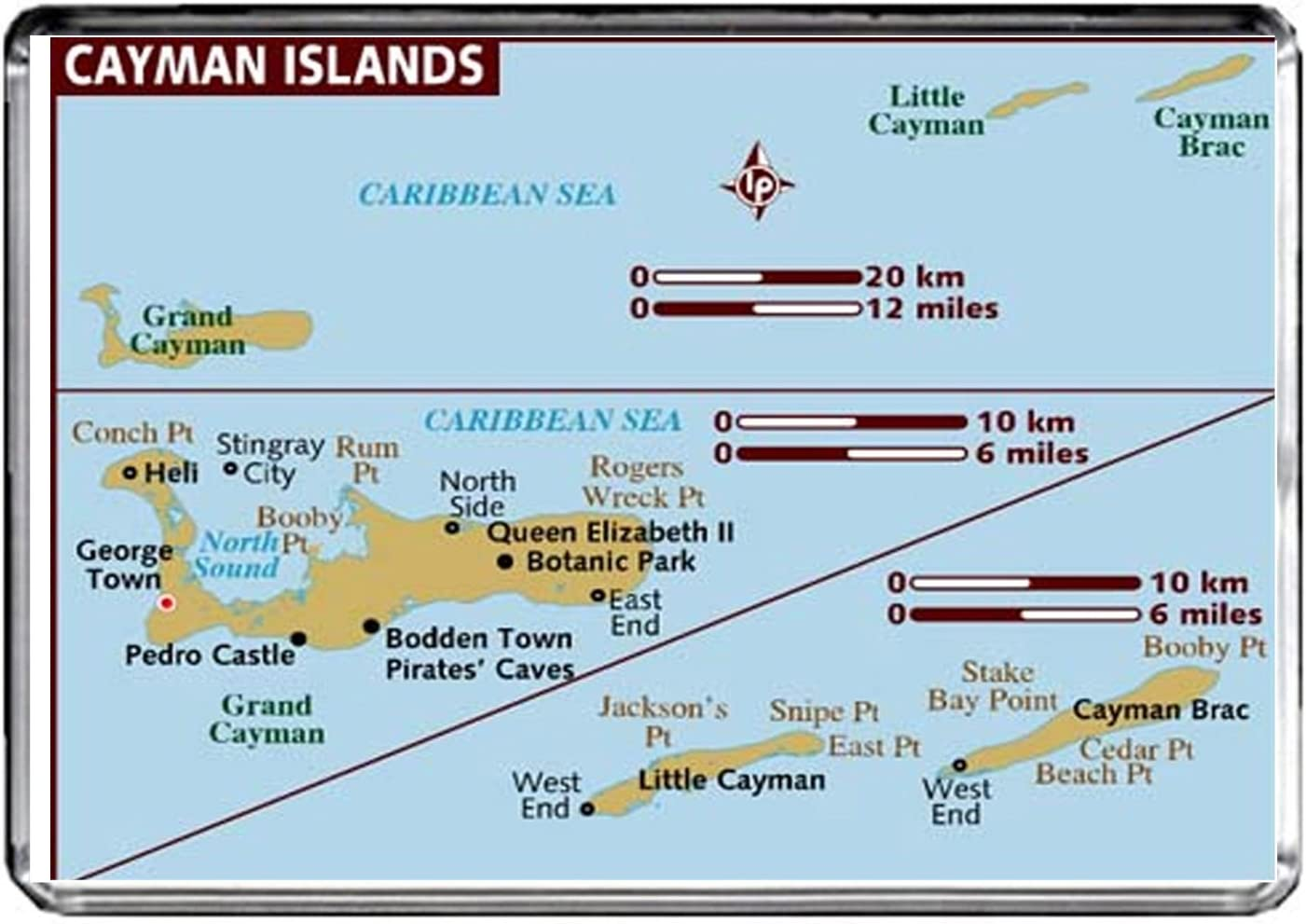 M039 MAP of Cayman Islands Fridge Magnet Cayman Islands Travel Refrigerator Magnet
