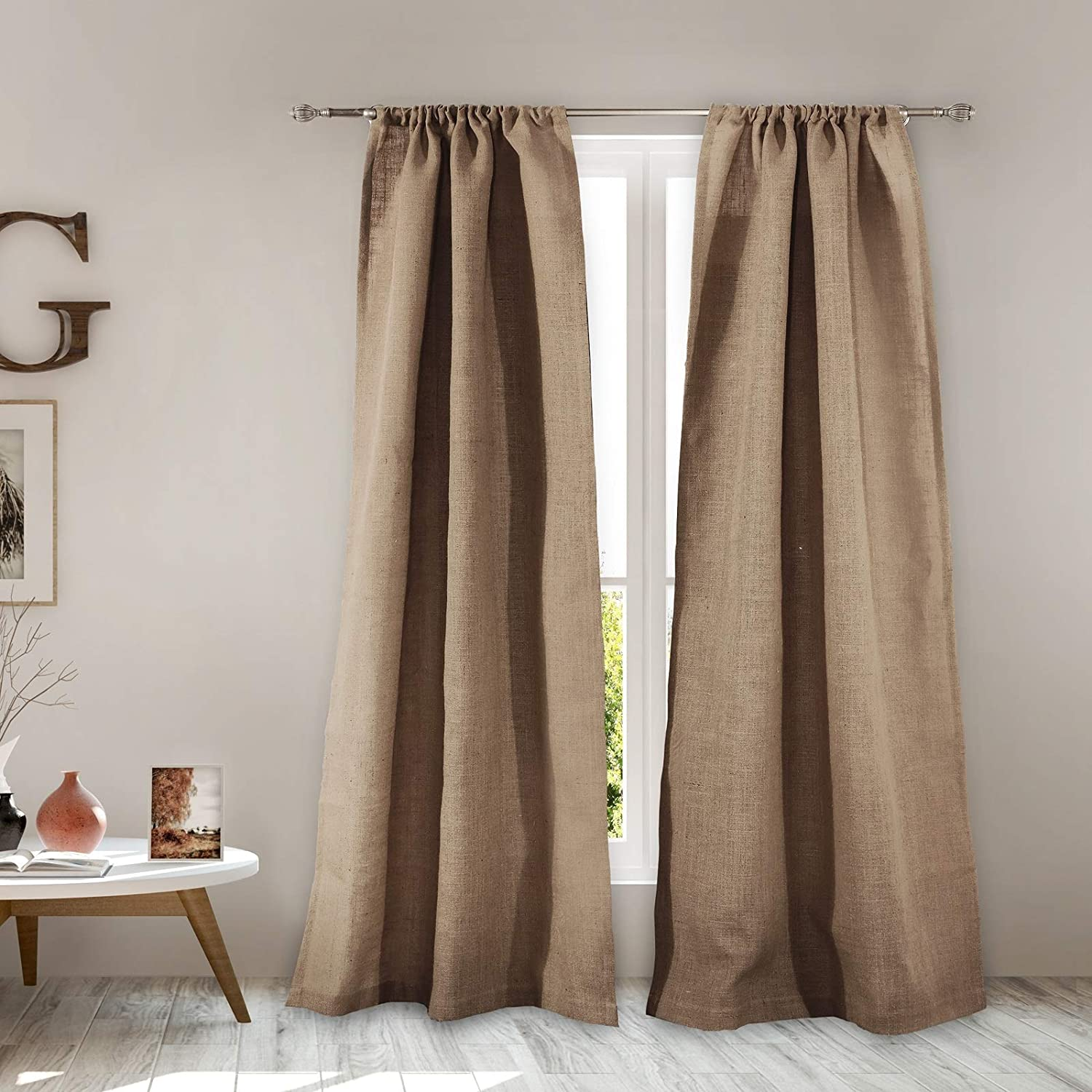 Greenland Home Burlap Window Curtain Panel Pair, Natural