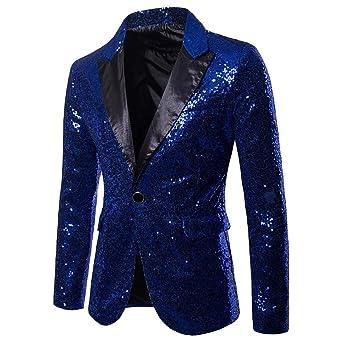 QBQCBB Charm Mens Shiny Fit Suit Blazer Performance Sequin ...