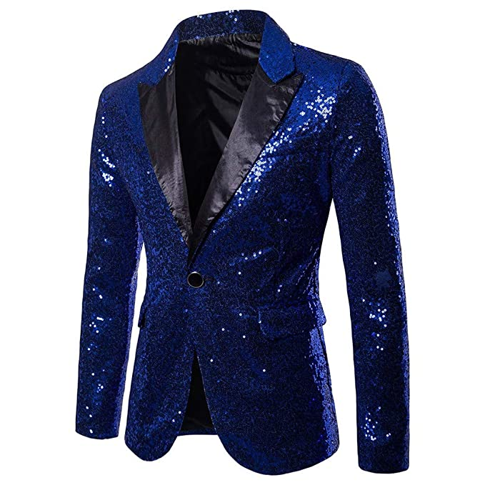 Amazon.com: Mens Casual One Button Jacket-Fit Suit Blazer Charm Coat Jacket Sequin Party Top Black: Clothing