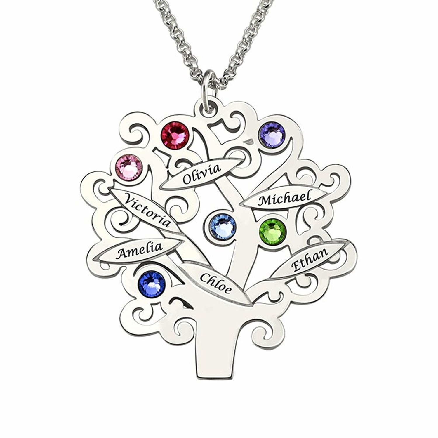 Personalized Family Tree Necklace with Birthstones Sterling Silver Name Necklace for Mom