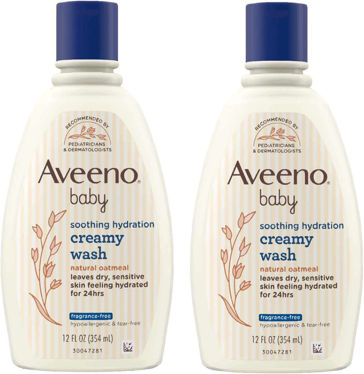 Aveeno Baby Soothing Hydration Creamy Body Wash with Natural Oatmeal, Baby Bath Wash for Dry & Sensitive Skin, Hypoallergenic, Fragrance-, Paraben- & Tear-Free Formula, 12 fl. oz (Pack of 2)