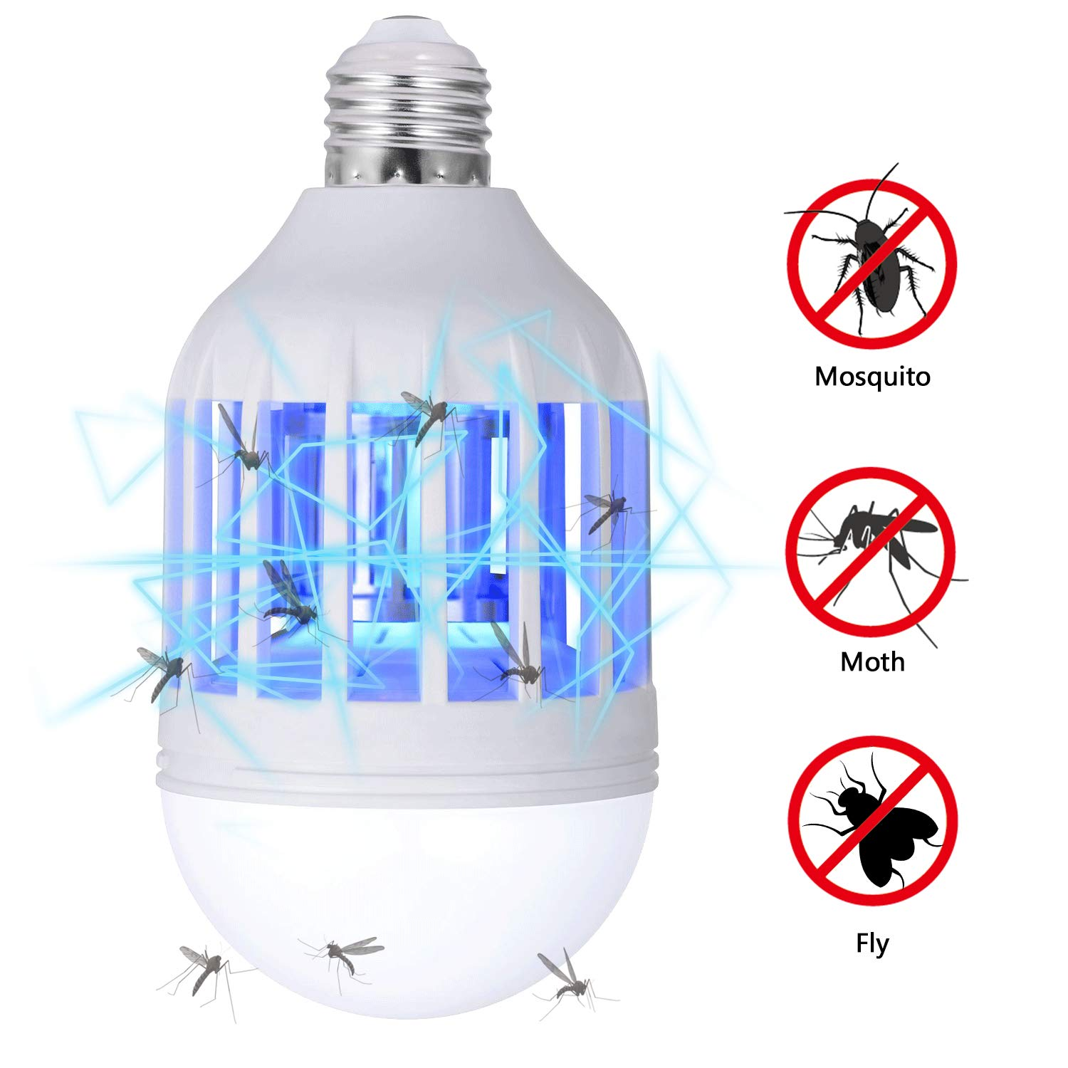 GLOUE Bug Zapper Light Bulb, 2 in 1 Mosquito Killer Lamp UV Led Electronic Insect & Fly Killer by GLOUE