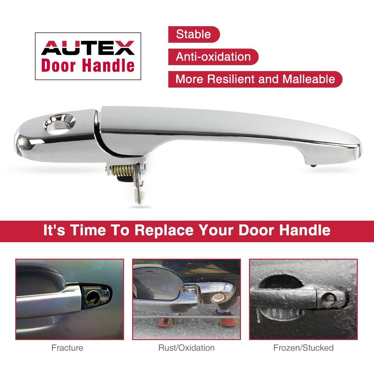 AUTEX Door Handle 80532 Chrome Exterior Front Left Driver Side Compatible with Buick LaCrosse,Pontiac Solstice G5 2005-2009 Replacement for Chevrolet Impala 07 08 09 10 11 12 13 Door Handle