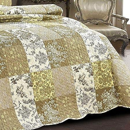 100/%/_cotone//cotone fantasia floreale vintage stile patchwork Singolo motivo boccioli Bellissimo copriletto trapuntato con 2/federe