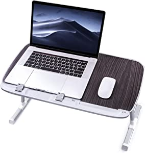 Laptop Desk for Bed, TaoTronics Lap Desks Bed Trays for Eating and Laptops Stand Lap Table, Adjustable Computer Tray for Bed, Foldable Bed Desk for Laptop and Writing in Sofa and Couch Black (Renewed)